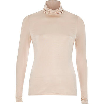 Pink silky roll neck top - plain t-shirts / tanks - t shirts / tanks - women