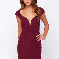 LULUS Exclusive Happy to Be Here Burgundy Bodycon Dress
