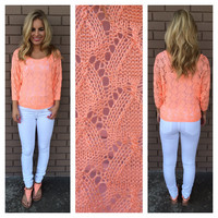 Coral Malorie Knit 3/4 Sleeve Sweater
