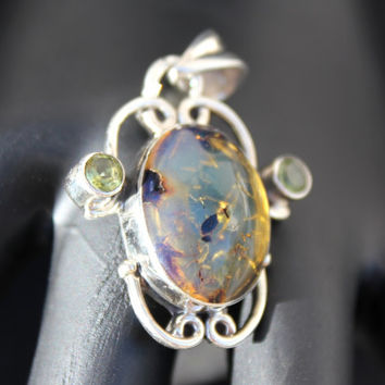 Dominican Blue Clear Amber Victorian Pendant Neckleace Sterling Silver 925 authentic purple Caribbean fossilized 4g 20ct OOAK rare