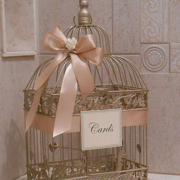 Champagne Gold Birdcage Wedding Card Box / Birdcage Cardholder / Wedding Card Holder