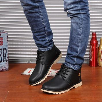 Men's Ankle High Lace-Up Plush Lined Winter Boots