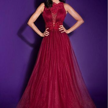 [109.99] Charming Tulle & Organza Bateau Neckline A-line Prom Dresses With Lace Appliques - dressilyme.com