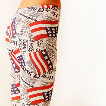 USA  leggings, flag printed newspaper  Leggings, 4th of july  womens leggings
