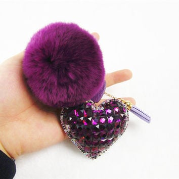 Pom Pom Crystal Heart Keychain, Special Gifts Tassel Key Chain, Faux Fur Pom Pom tassel key chains, furry key chains, large fur balls