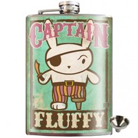 Captain Fluffy Pirate Bunny Stainless Steel Hip Flask | Unique Gift