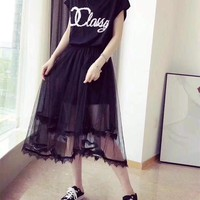 """Chanel"" Women Temperament Casual Fashion Letter Short Sleeve Gauze Dress"