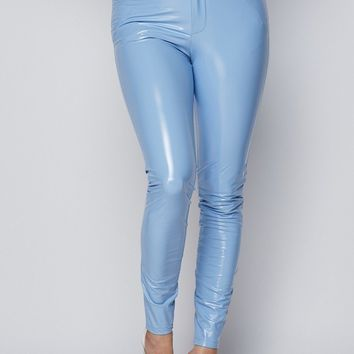 Powder Puff Latex Skinny Leg Pants