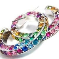 Trendy Colorful Triple Sided Crystal Hoop Earrings with Rainbow Multicolor Pink Purple Blue Green Crystals: Jewelry
