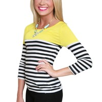 Two If By Sea Top in Yellow with Black and White Stripes