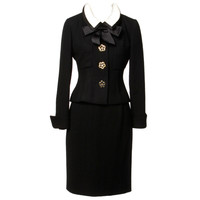 Chanel by Karl Lagerfeld Black Wool 2-Piece Skirt Suit- Detachable Collar Jacket