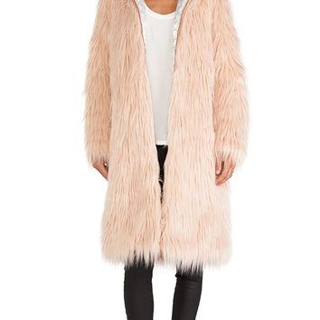Chaser Hooded Faux Fur Coat in Blush