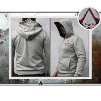 Gray Embroidered Assassins Creed III 3 Casual Hoodie Coat Jacket Cosplay Costume