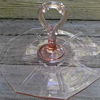 Vintage Pink Depression Glass Sandwich Desert Tidbit Tray Center Handle