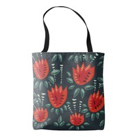 Decorative Abstract Red Tulip Dark Floral Pattern Tote Bag