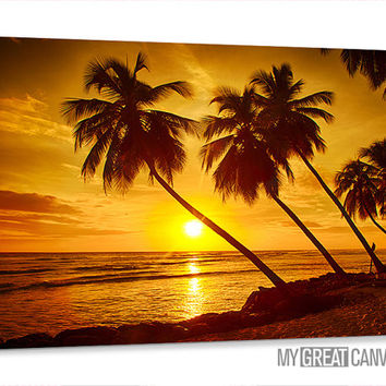 Canvas Prints Palm, Sunset on Ocean | Sea Skyline Art Canvas | Tropical Island and Ocean Landscape Canvas Painting