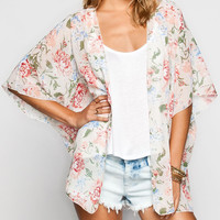 Lottie & Holly Floral Print Womens Kimono Cream Combo  In Sizes