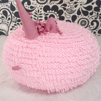 Pink unicorn pillow, pink crochet floor pouf, nursery ottoman, round crochet pillow