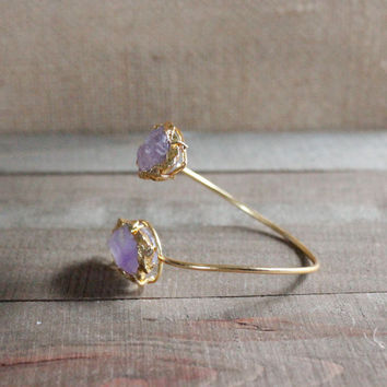 Amethyst Double Arrowhead Gold Cuff Bracelet-Gemstone