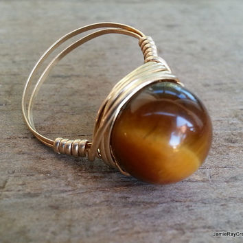 Tiger's Eye and 14k Gold Fill Wire Wrapped Ring - Gemstone Bead Wrapped in 14k Gold Filled Wire - Brown-Amber Stone Ring -Made to Order Ring