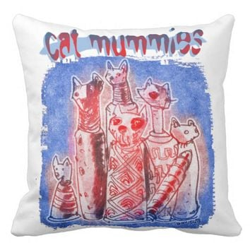 cat mummies blue and white twin face throw pillow