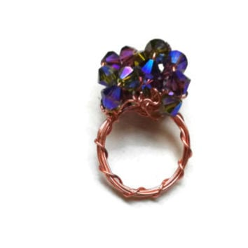 Swarovski Ring - Amethyst and Olivine AB2X Crystals Wire Wrapped in Copper - Size 7.5 - RIN080