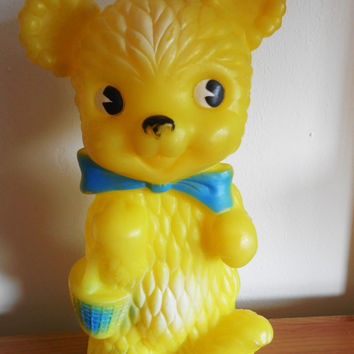 Vintage Large Yellow Combex Bear- Rubber Squeaky Squeezy Squeak Toy from 1980s- Made in England