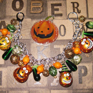 Jack O' Lantern Charm Bracelet Halloween Pumpkin Jewelry Vintage Folk Art Style Old Fashioned JOL'S Charms & Beads Eclectic Statement Piece