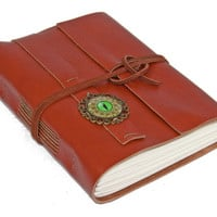 Light Brown Leather Journal with Cats Eye Cameo Bookmark