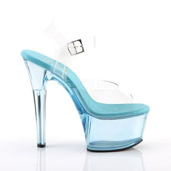 Aspire 608T Blue Clear Tint Platform High Heel Ankle Strap Sandal