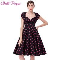 Women Dresses Summer Robe Sexy Vestidos Plus Size Floral Print Retro 50s 60s Vintage Dress Hepburn Pinup Cocktail Party Dresses