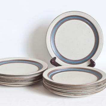 Vintage Otagiri Horizon 8 1/2 inch Salad Plates, Set of 9 Stoneware Blue Band Luncheon Plates, Oven Table Dishwasher Safe, Made in Japan