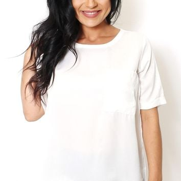 Ivory Scoop Neck Pocket Tunic