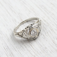 Antique Art Deco 18K White Gold 1/4 Carat Diamond Ring - Size 5 1920s 1930s Filigree Engagement Fine Jewelry / Sparkly White Diamond