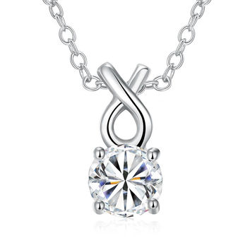 White Gold Plated Classic Tiffany's Diamond Necklace