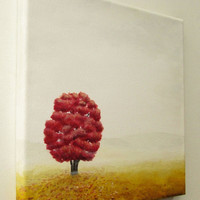 """Autumn Tree Painting, Original Fall Landscape Art, Lone Red Tree, Misty Field Landscape, Gray Fog, Red and Brown Fall Art, Acrylic 10"""" X 10"""""""