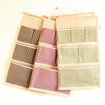 Cotton Linen Storage With Pocket 3-color Bags [6283598982]