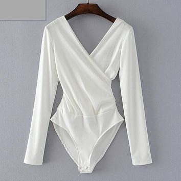 CRISSCROSS V-NECK LONG SLEEVE BODYSUIT