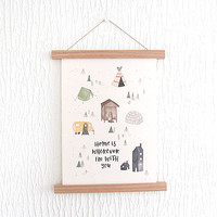 Home Is A4 Print With Wooden Hanger by In The Daylight