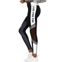 gcl Women Love Pink Letter Print Fitness Legging Women High Waist Slim VS PINK Legging Sporting Adventure Time Legging P67 Z30