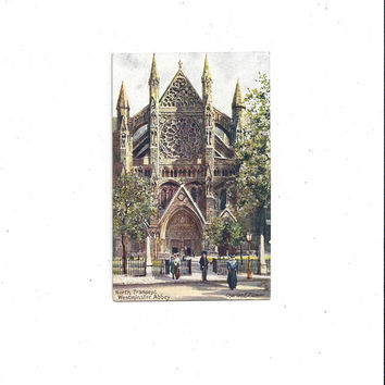 Early 1900s Antique Oilette Art Postcard, Westminster Abbey, North Transept, England, UnPosted, Charles E. Flower, Raphael Tuck, Victorian