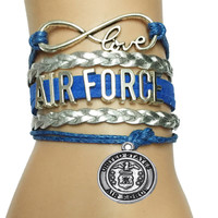Military Air Force Bracelet- Leather Velvet Biraid