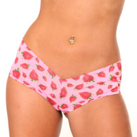 Strawberries Print BASIC BOOTY SHORT-Stripper Clothing