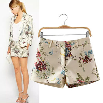 Women's Fashion Stylish Vintage Print High Rise Casual Pants Floral Shorts [5013242820]