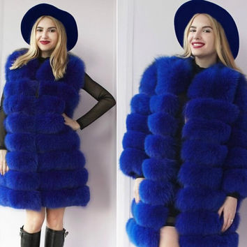 S-XXXL Winter fox fur leather jacket 2016 new fashion extra-long section of women's fur coat thick warm sleeves removable PC069
