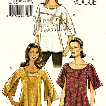 Very Easy Vogue Pattern V8452 Romantic Scoop Neck Top PLUS Sz 18-24 Uncut FF Loose Fitting Split Sleeve Blouse Sewing Patterns Dress Making