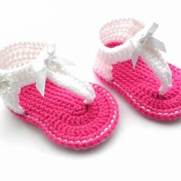 Crochet White Pink Sandals Baby Shoes
