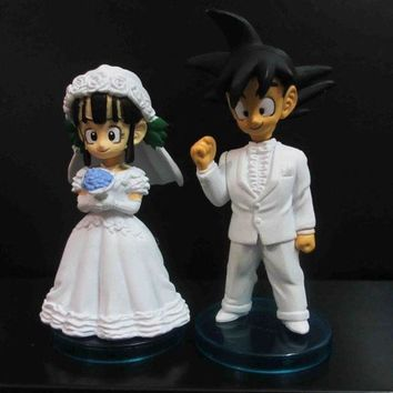 PEAPUG3 LOT OF 2 DragonBall Z BZD Groom GOKU and Wedding Bride CHI-CHI FIGURE box set 3'