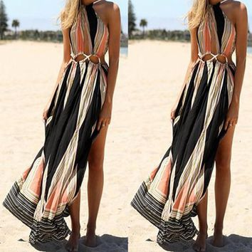 Summer Trible African Printed Sleeveless Backless Off Shoulder Cut Out High Slit Boho Maxi Dress