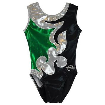 O3GL064 Obersee Girl's Girls Gymnastics Leotard - Mia Green